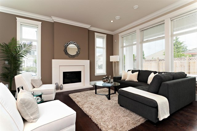 wall colors covering the center wall to strike white walls dark sofa